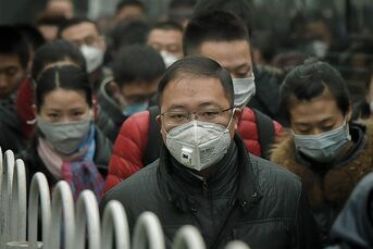 People in China wearing protective masks to filter out smog.